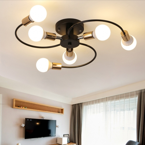 Modern Style 6 Light Semi Flush Ceiling Light for Living Room Bedroom