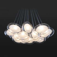 Modern Style 10/15 Light Clear Oval Glass Spheres Pendant Light for Living Room Restaurant