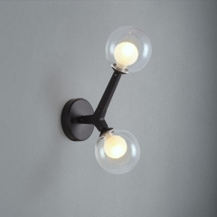 Modern Style 2 Light Sconce with Mouth Blown Clear Glass Globes for Living Room Hallway Lighting