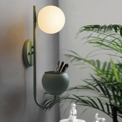 Modern Chic 1 Light Wall Sconce with Opal Globe Shade for Living Room Hallway Bedside Lighting