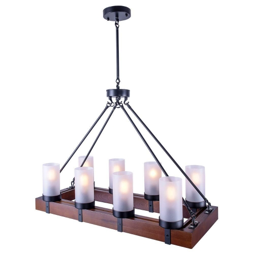 Vintage Industrial Kitchen Island Light, 8 Lights Retro Pendant Light Fixture Rectangular Wood Frame Metal Hanging Chandeliers Ceiling Light Luminaire