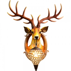 Classic Vintage Industrial  Style 24'' H Deer Head Resin Wall Light with Glass Shade for Restaurant