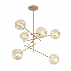 Modern Style 6 Light Chandelier Matte Gold with Clear Hand-blown Glass Globes