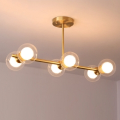 Modern Style 6 Light Semi Flush Mount in Brass with Clear/Opal Glass Globe Shade for Dining Room Restaurant