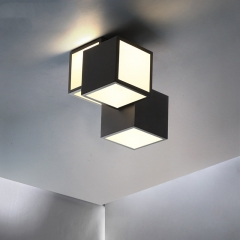 Modern Style 12'' Wide Cube LED Semi Flush Mount Cieiling Light for Bedroom Living Room