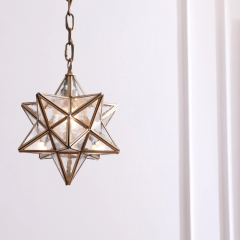 Modern Style 11''/13'' Wide 1 Light Aged Brass Star Pendant Light with Frosted Glass Shade for Restaurant Bar