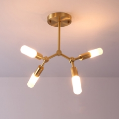 Modern Style 4 Light Brass Semi Flush Mount Ceiling Light with Clear/Frosted Glass Shade for Living Room Bedroom