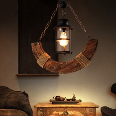 Industrial Style 22'' Wide Large Single Light Wood Pendant Chandelier with Rope Decoration