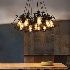Vintage Industrial 5/6/7/9/10 Head Cage Mini Multi Light Pendant for Restaurant and Bar
