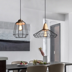 Cage Style 1 Light Industrial Pendant Mini with Wood Decoration for Kitchen