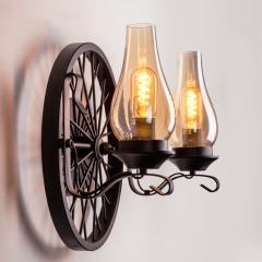 1/2 Head Traditional Candle Style Wall Sconce with Industrial Metal Wheel