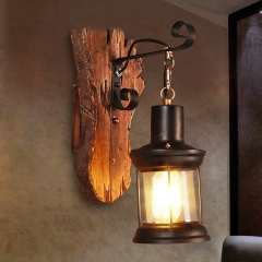 Industrial Style 14''H Glass Wall Lantern Sconce with Wood Base