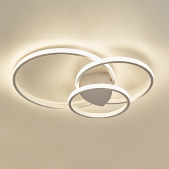 Modern Style 3-Rings Circle LED Ceiling Lamp in White for Bedroom Dining Room Kid's Room