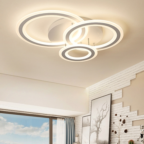 Modern Lighting LED 3 Rings Semi Flush Mount Ceiling Light for Bedroom Living Room Kitchen