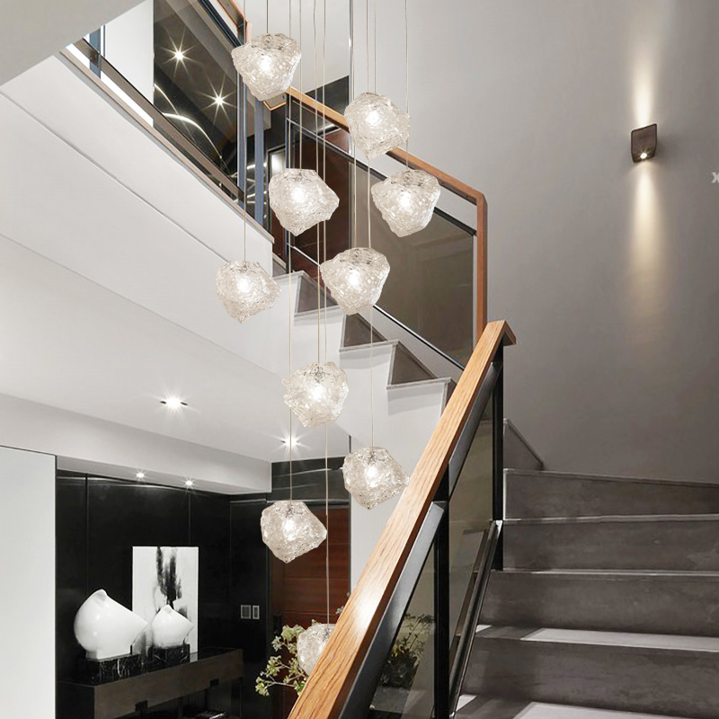 Modern Style Glass Cube Multi Light Pendant Lamp For