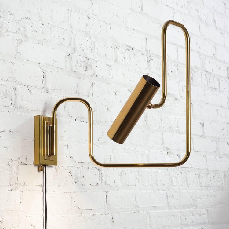 Mid Century Modern 1 Light Led Aisle Corridor Wall Sconce With Gold