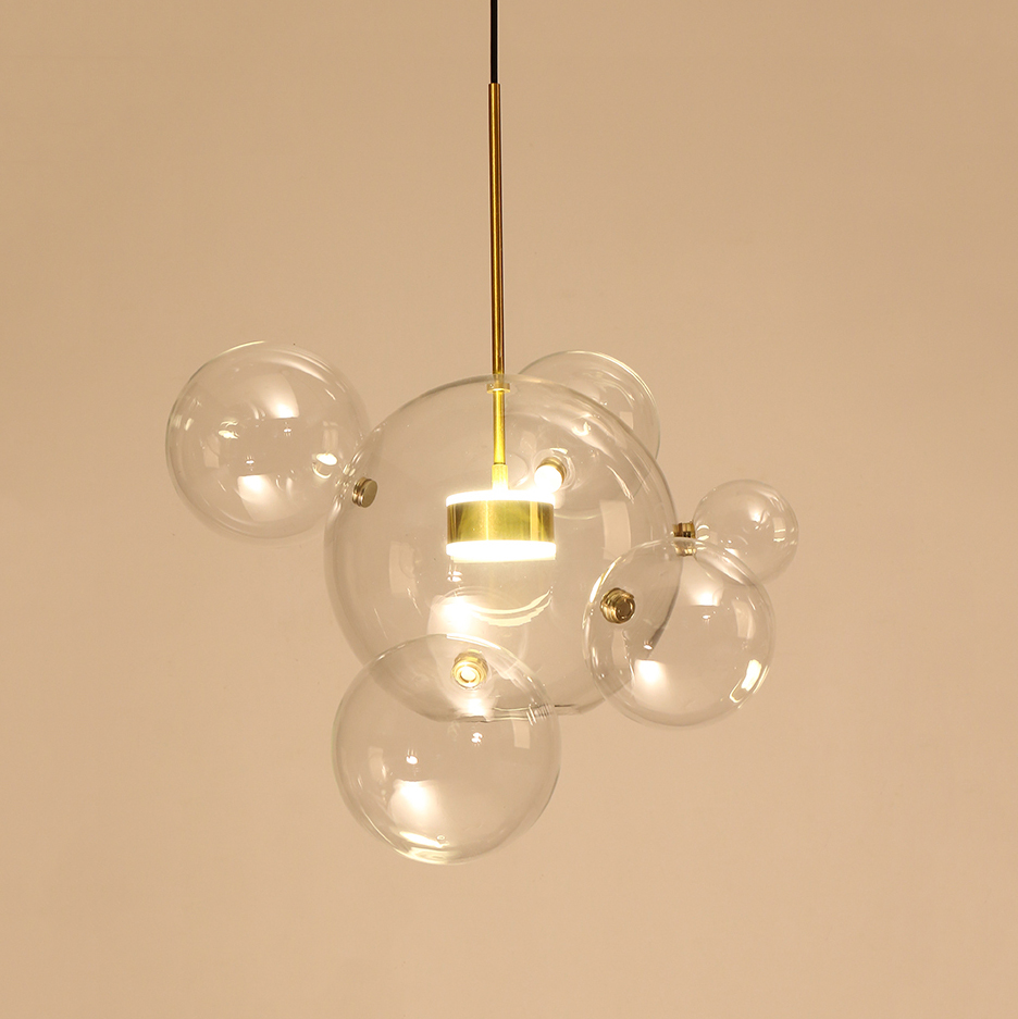 Modern Soap Bubble Pendant Light Clear Globe Glass 1 Light