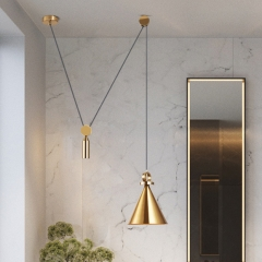 Modern Style 1 Light Free to Lift Pulley Pendant For  Bar Kitchen Island Lighting