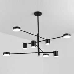 Mid Century Modern 8 Light LED Chandelier with Rotatable Arms in Black For Living Room