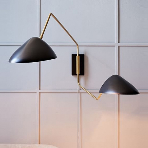 Mid Century Modern 2 Lights Wall Sconce with Stretching Arms in Black and Brass