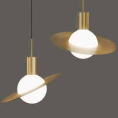 Modern Simple 1 Light Planet Glass Gold Pendant for Exhibition Hall/Showroom/Bar