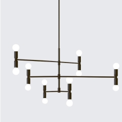 Modern Design 12 Light Chandelier Black Rotatable Light Fixture For Foyer Living Room Restaurant