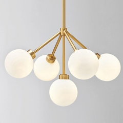 Mid Century Modern 5 Light Brass Chandelier with Hand blown Opal Glass For Living Room Dining Room