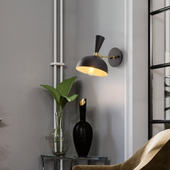 Modern 1 Light Dome Shape Wall Sconce Bedside Sconce in Black/White