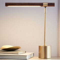 Modern Simple 1 Light Brass Table Lamp Wood Grain Design for Study Room