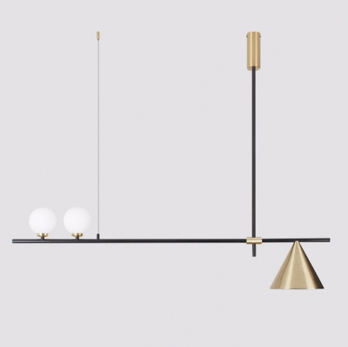 Mid Century Modern 3 Light Black/Gold Chandelier With Cone Shade for Living Room/Dining Room/Bar