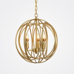 Mid-Century Modern 3 Lights Globe Chandelier with Gold Iron Shade For Bedroom