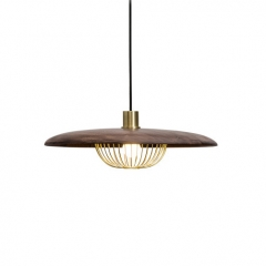 Modern Simple 1 Light Sauser Cage Pendant in Walnut/Wood Grain/Gold For Dining Table