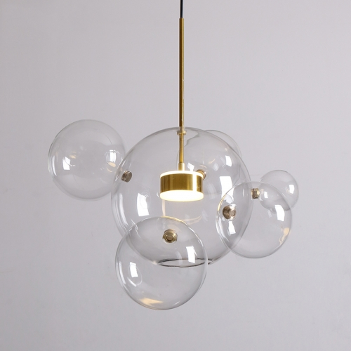 Modern Soap Bubble Pendant Light Clear Globe Glass 1 Light LED Pendant Light Dimmable with Remote