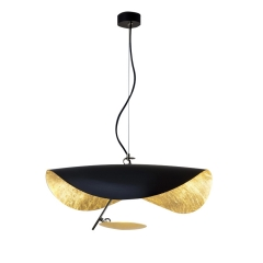Mid Century Modern 1 Light LED Flying Saucer Pendant in BLack/White for Foyer Living Room