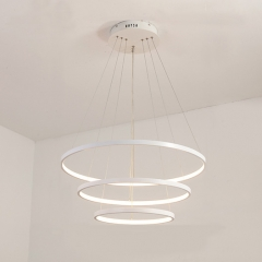 Minimalist Triple Circle LED Chandelier for Large Entryway, Living, Kitchen or Dining Room