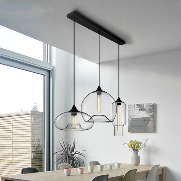 Modern Style 3 Light Pendant Light With Clear Glass Shade For Dining Room Kitchen Island Pendants