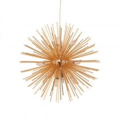 Modern Style 8/12 Light Sunburst Sputnik Chandelier in Gold for Living Room Restaurant