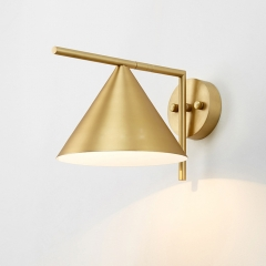 Mid Century Modern 1 Light Wall Sconce with Cone Shade for Bedside Kitchen Lighting