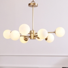 Mid-Century Modern 6-Light Brass Chandelier Sputnik Chandelier with Glass Spheres