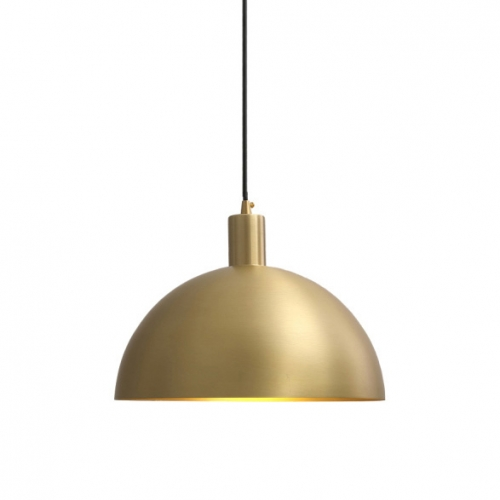 "Mid-Century Modern 11 4/5"" Brass Dome Pendant Light for Kitchen Island and Dining Room"