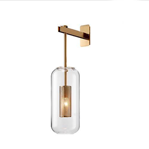 Contemporary 1-Light Brass Wall Lamp with Cylindrical Glass Shade