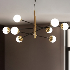 Mid Century Modern 6-Light Sputnik Chandelier in Brass with Globe Shade for Kitchen Entryway