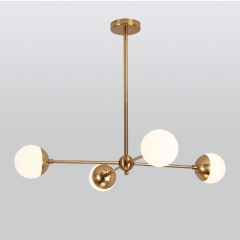 Mid-century Modern 4-Light Sputnik Chandelier for Dining Room, Gold