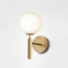 Modern Minimalist 1-Light Mini Glass Wall Sconce with Opaline Sphere