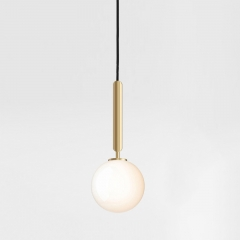 Mid Century Modern 1-Light Mini Glass Pendant Light with Opaline Sphere