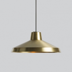 Retro-chic 1-Light Cone Shaped Pendant Light in Brass