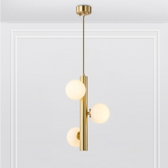 Mid-Century Modern 3-Light Brass Vertical Pendant Light with Opal Globes