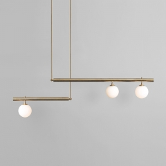 Mid Century Modern Linear Suspension Chandelier with Opal Globes