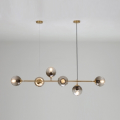6-Light Modo Linear Chandelier with Glass Spheres in Modern Style