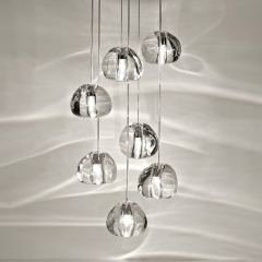 Modern Style Multi-light Stair Rail Pendant Light Crystal Glass Staircase Pendant Light